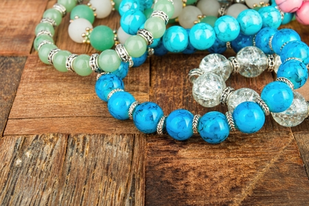 Shiny beads jewelery. Macro shot.