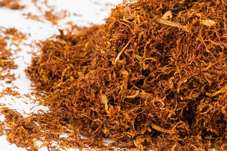 toxic substance: Dry tobacco - Stock image, macro shot. Stock Photo