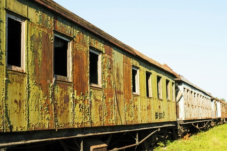 Old and rusted wagon trains at the train cemetery.