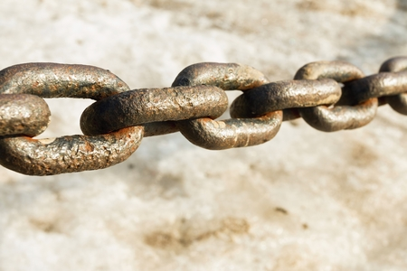 rusty chain: Old rusty vintage steel chain. Macro shot. Stock Photo