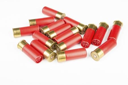 shot: 12 gauge red hunting cartridges for shotgun. Macro shot.