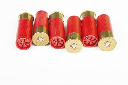 12 gauge red hunting cartridges for shotgun. Macro shot.