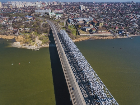 famous industries: Landscape of bridge over Don river. Aerial view. Stock Photo