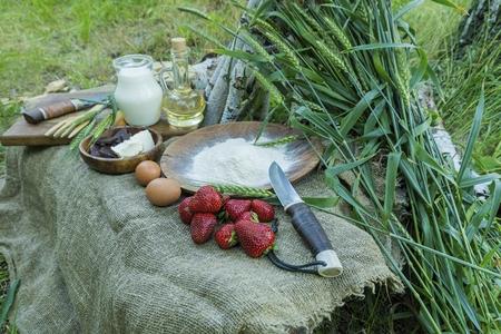 Fraise fraîche et juteuse organique au lait, farine, oeufs et beurre sur la table. Concept de nourriture saine naturelle. Banque d'images - 79632297