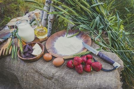 Fraise fraîche et juteuse organique au lait, farine, oeufs et beurre sur la table. Concept de nourriture saine naturelle. Banque d'images - 79632219