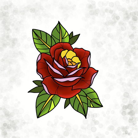 Design traditionnel de la rose de tatouage. Illustration dessinée, style dessiné à la main.