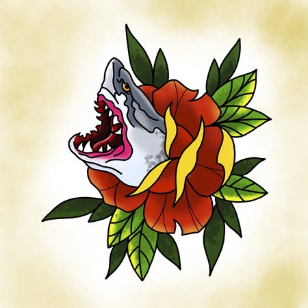 Traditional tattoo rose with shark design. Cartoon illustration, hand drawn style.