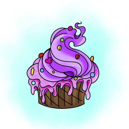 Traditional tattoo cupcake design. Cartoon illustration, hand drawn style. Stok Fotoğraf