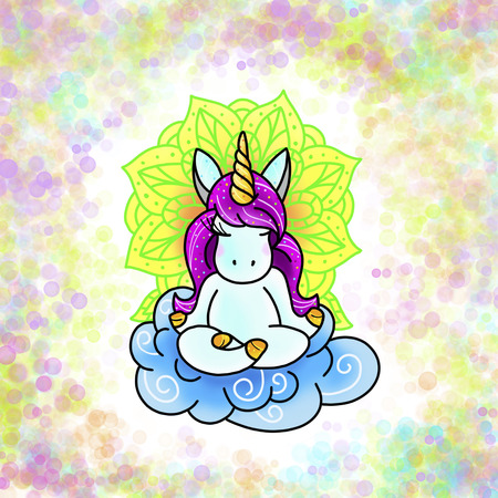 Licorne magique mignonne. Conception de tatouage. Illustration de dessin animé, style dessiné à la main.