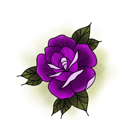 Traditional tattoo rose design. Cartoon illustration, hand drawn style. Stok Fotoğraf