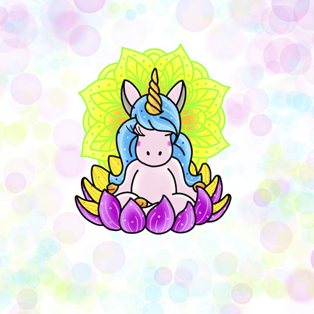 Cute magical unicorn. Tattoo design. Cartoon illustration, hand drawn style. Stok Fotoğraf