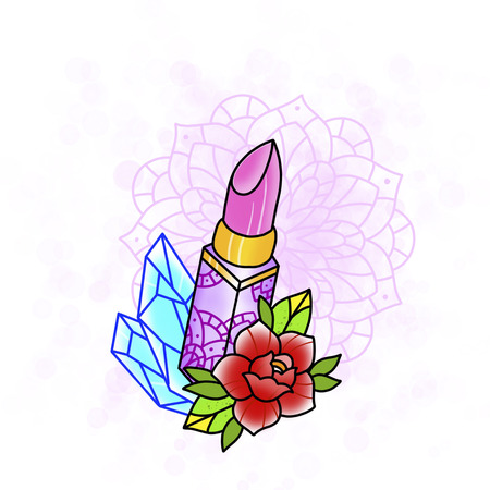 Rouge à lèvres à la rose et au diamant. Conception de tatouage. Illustration dessinée, style dessiné à la main. Banque d'images - 83286536