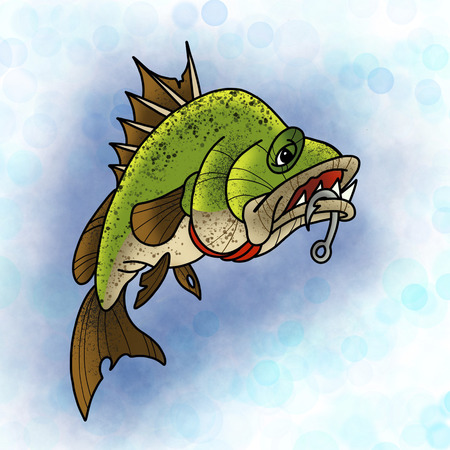 Big angry fish. Tattoo design. Cartoon illustration, hand drawn style.