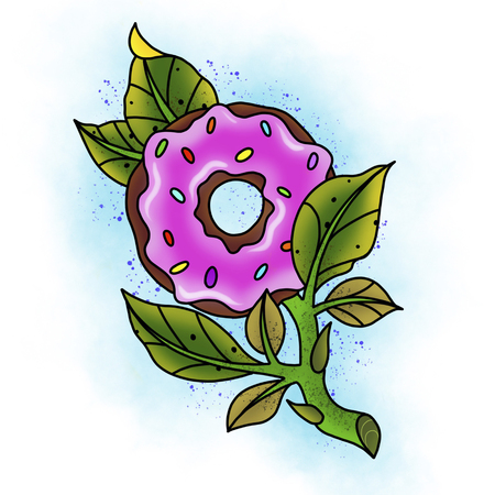 Traditional tattoo rose and donut design. Cartoon illustration, hand drawn style.