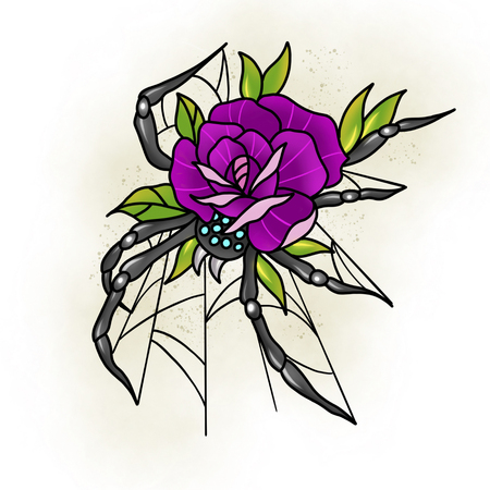 Conception traditionnelle de rose de tatouage et d'araignée. Illustration de dessin animé, style dessiné à la main.