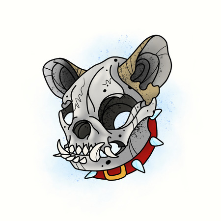 Dog skull. Stylized skeleton French Bulldog. Cartoon illustration, hand drawn style.
