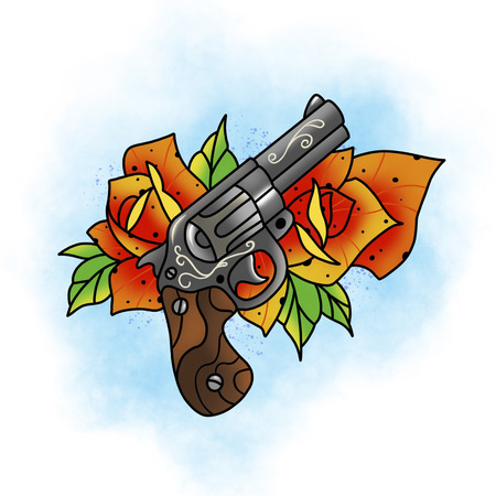 Traditional tattoo rose and gun design. Cartoon illustration, hand drawn style.