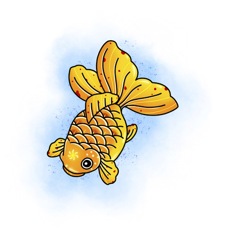 Poisson carpe koi. Conception de tatouage. Illustration de dessin animé, style dessiné à la main.