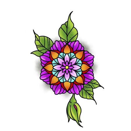 Mandala fleuri. Élément décoratif vintage. Islam, arabe, indien, motifs ottomans. Banque d'images - 84371941