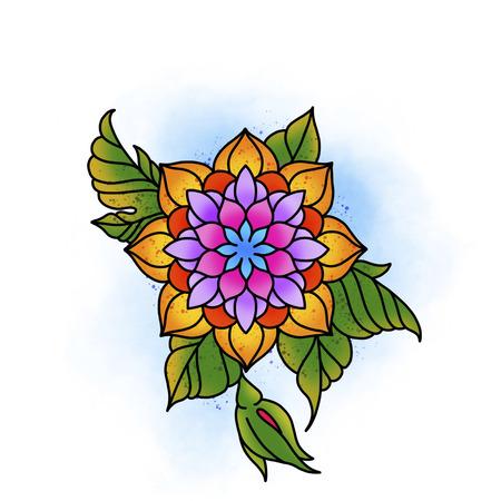 Mandala fleuri. Élément décoratif vintage. Islam, arabe, indien, motifs ottomans. Banque d'images - 84371939