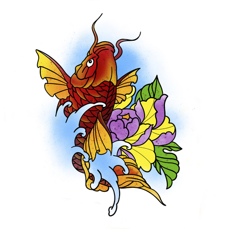 Stylized fish and flower. Tattoo design. Cartoon illustration, hand drawn style.