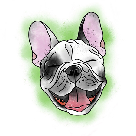 Stylized dog. Tattoo design. Cartoon illustration, hand drawn style. Stok Fotoğraf