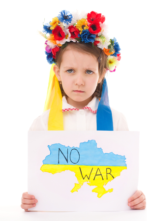 no integrity: Ukrainian little girl holding map of Ukraine with anti-war protest sign, isolated over white