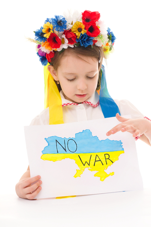 no integrity: Ukrainian sad kid holding map of Ukraine with anti-war protest sign, isolated over white