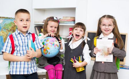 happy little schoolchildren