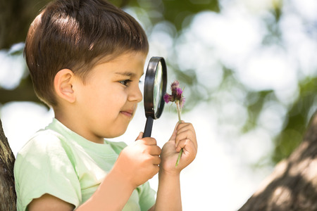 boy beautiful: Cute little boy is looking at flower through magnifier outdoors