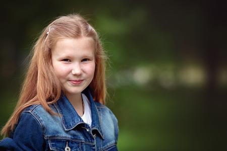 Closeup portrait of sunny girl