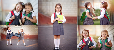 niños saliendo de la escuela: Collage de colegialas felices van a la escuela. Educación, concepto de escuela