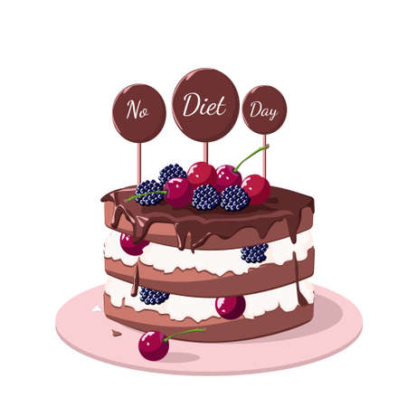 Chocolate cake with cherries and blackberries. A day without a diet. Pastries and sweets. Vector illustration