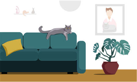 A brutal British cat lies on the back of a sofa in a cozy living room. A painting, cat figurines, and a flower. Interior of the living room. Vector