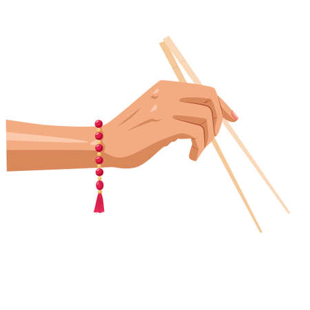 The hand holds Chinese chopsticks. On her hand is a red bracelet made of beads. Vector illustration isolated on a white background