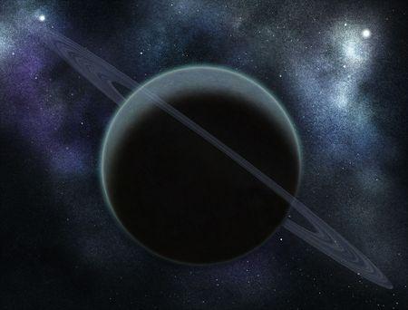 digital created starfield with cosmic nebula and dark planet stock