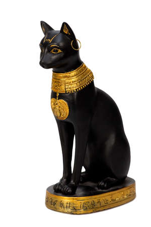 egypt anubis: Egyptian cat statue isolated over white  Stock Photo