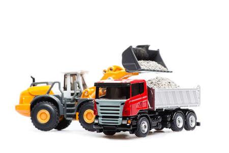 camion de basura: El bulldozer pesado y camiones pesados Foto de archivo