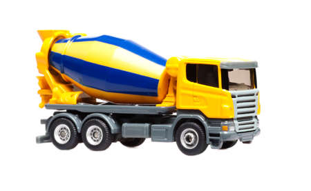 toy heavy truck concrete mixer isolated over white background photo