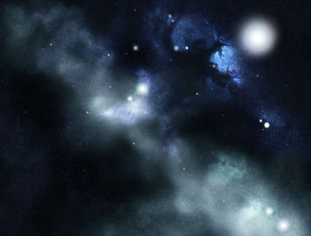 astrophysics: Digital created starfield with cosmic Nebula