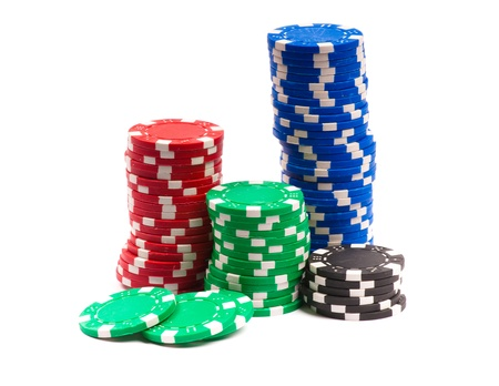Gambling Chips Isolated over white background photo