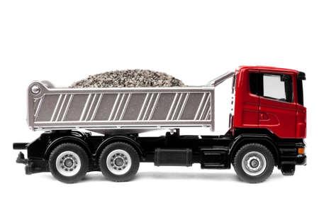 camion de basura: camiones pesados de juguete aisladas sobre fondo blanco