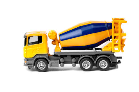 concrete mixer truck: toy heavy truck concrete mixer isolated over white background