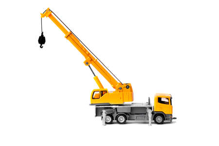 mobile crane: yellow toy truck crane isolated over white backgroung