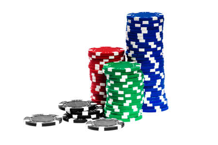 casino chips: Gambling Chips Isolated over white background Stock Photo