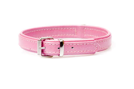 pink leather collar with rivets isolated over white background photo