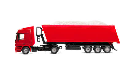 toy heavy truck isolated over white background photo