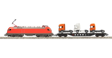 Red Electic Locomotive isolated over white background photo