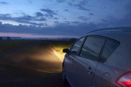 car at night on the country road