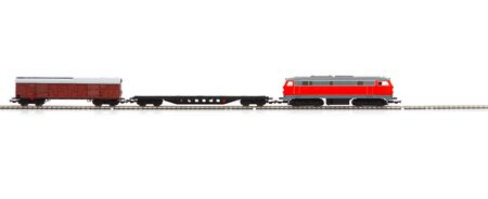 miniature model of freight train isolated over white background Stockfoto